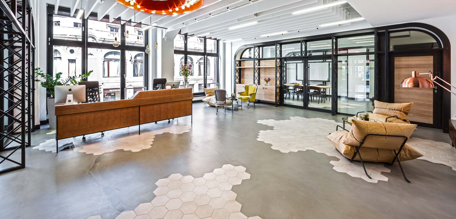 Industrial design hexagonal tiles rewind ragno for Best office design in the world