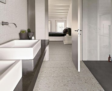 Ideas for a modern bathroom: neutral colours and surprising 3D textures