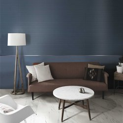 A modern lounge with stoneware tiles