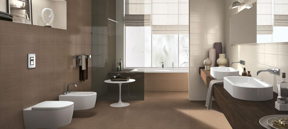 Line Collection: White-body bathroom wall tiles  Ragno