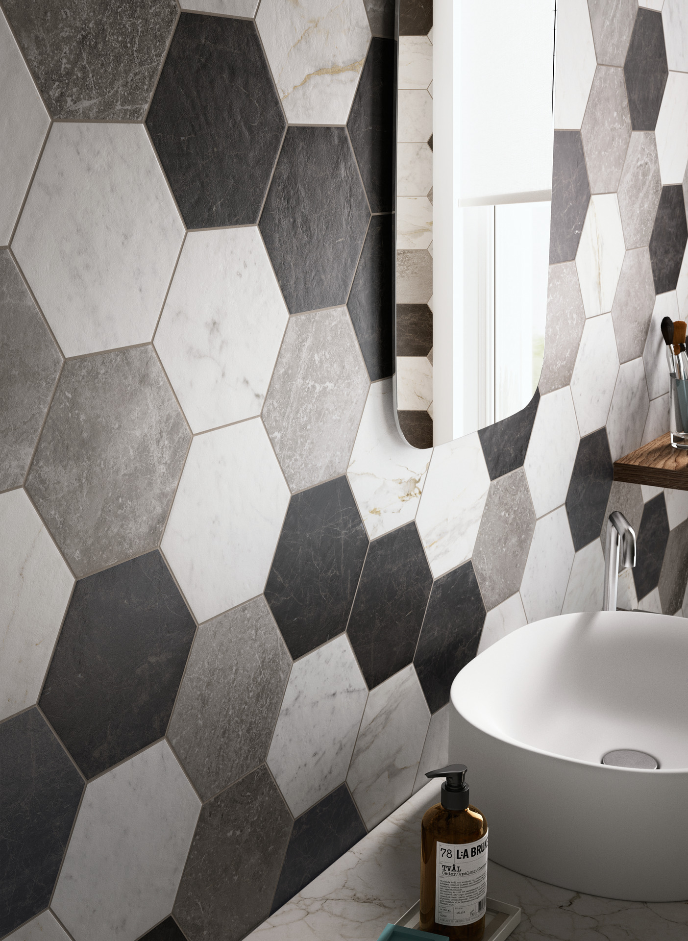 Grey and blue bathroom - Bathroom Flooring In Porcelain Stoneware Ragno
