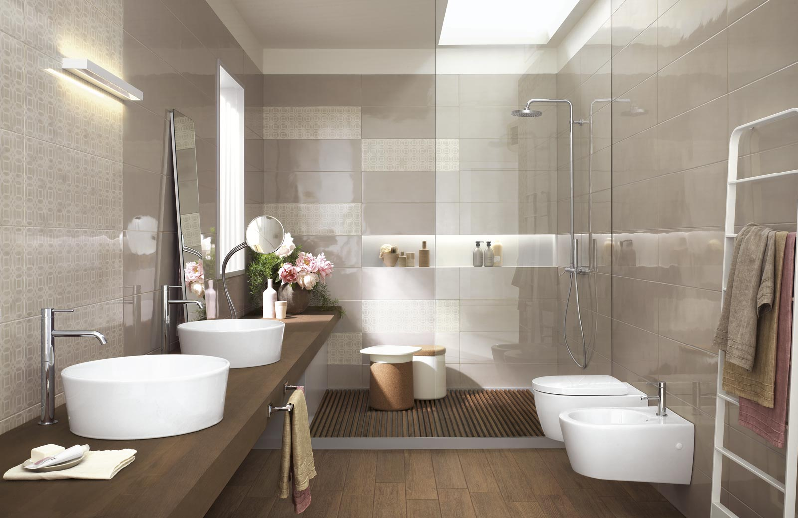 Handmade collection gloss effect bathroom walls ragno for Salle bain gris beige