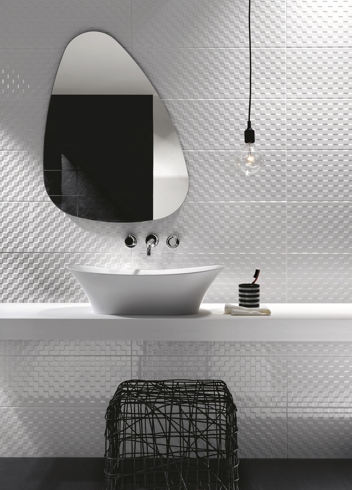 Black and white bathroom wall tiles - Prestige Ceramic Tiles Ragno_4039
