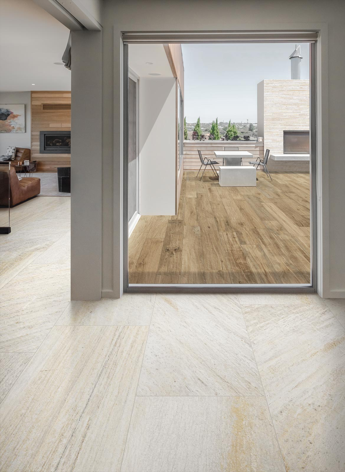 Indoor outdoor flooring and tiles ragno for Indoor outdoor wood flooring