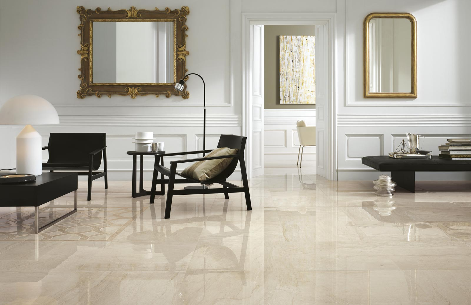 Symphony collection marble effect stoneware tiles ragno for Carrelage 60x60 brillant